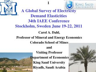 Carol A. Dahl, Professor of Mineral and Energy Economics Colorado School of Mines and