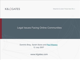 Legal Issues Facing Online Communities