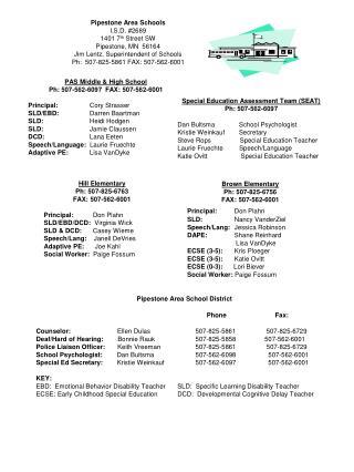 Pipestone Area Schools I.S.D. #2689 1401 7 th  Street SW Pipestone, MN  56164