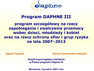Program DAPHNE III