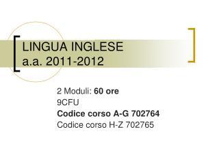 LINGUA INGLESE a.a. 2011-2012