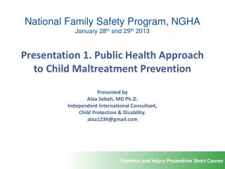 National Family Safety Program, NGHA January 28 th  and 29 th  2013