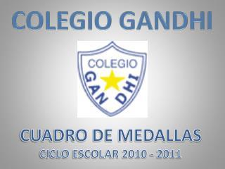 CUADRO DE MEDALLAS CICLO ESCOLAR 2010 - 2011