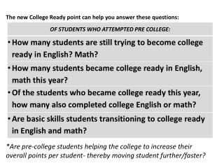 The new College Ready point can help you answer these questions: