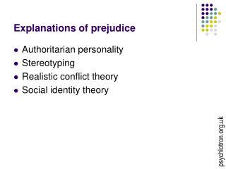 Explanations of prejudice