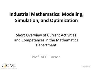 Industrial Mathematics: Modeling, Simulation, and Optimization