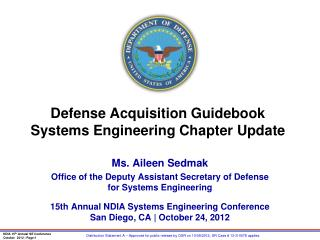 Defense Acquisition Guidebook Systems Engineering Chapter Update