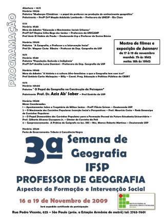 Semana de  Geografia IFSP