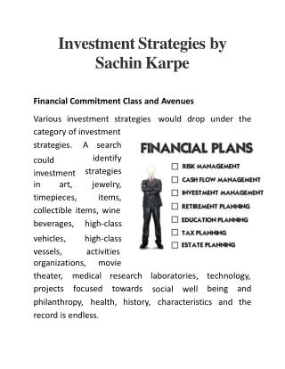 Investment Strategies by Sachin Karpe