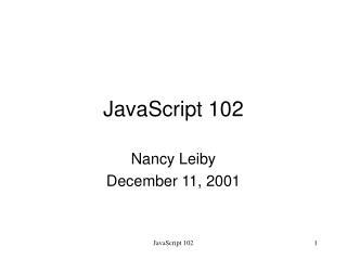 JavaScript 102