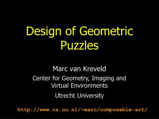 Design of Geometric Puzzles