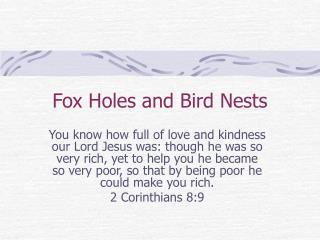 Fox Holes and Bird Nests