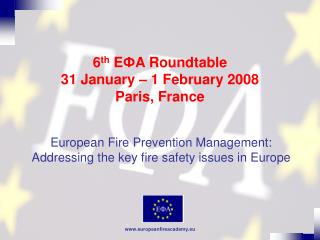 6 th  E Ф A Roundtable 31 January – 1 February 2008 Paris, France