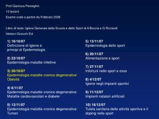 Prof Gianluca Perseghin 10 lezioni Esame orale a partire da Febbraio 2008