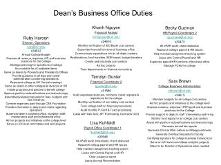 Dean's Business Office Duties