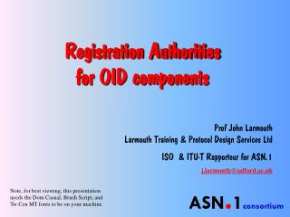 Registration Authorities for OID components
