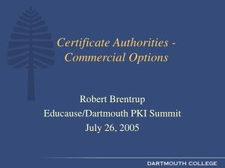 Certificate Authorities - Commercial Options