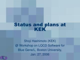 Status and plans at KEK