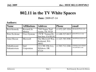 802.11 in the TV White Spaces