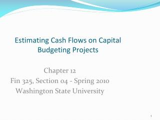 Chapter 12 Fin 325, Section  04  -  Spring 2010 Washington State University