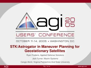STK/Astrogator in Maneuver Planning for Geostationary Satellites