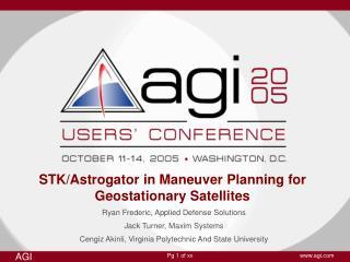STK/Astrogator in Maneuver Planning for Geostationary Satellites
