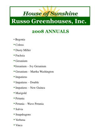 Russo Greenhouses, Inc.