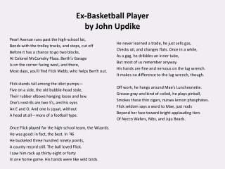 Ex-Basketball Player  by John Updike