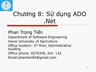 Chương 8: Sử dụng ADO .Net