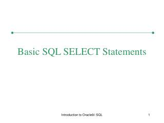 Basic SQL SELECT Statements