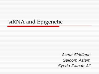 siRNA and Epigenetic
