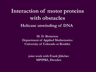 Interaction of motor proteins with obstacles