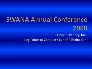 SWANA Annual Conference 2008