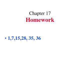 Chapter 17 Homework