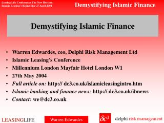 Demystifying Islamic Finance