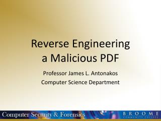 Reverse Engineering a Malicious PDF