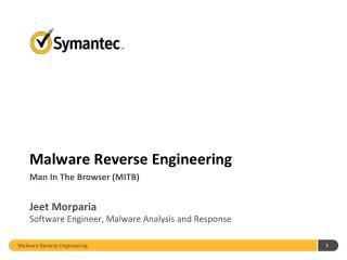 Malware Reverse  E ngineering