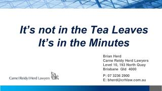 It's not in the Tea Leaves It's in the Minutes