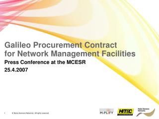 Galileo Procurement Contract  for Network Management Facilities