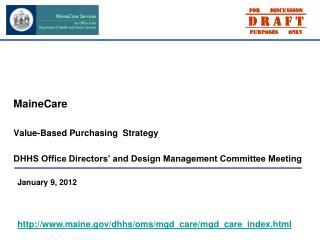 MaineCare Value-Based Purchasing  Strategy