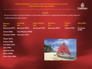 Летайте Эмирейтс в страны Азиатско-Тихоокеанского региона с авиакомпаниями - партнерами