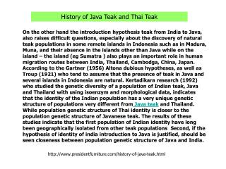 History of Java Teak and Thai Teak