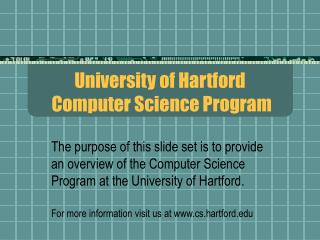 University of Hartford  Computer Science Program