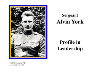 Sergeant Alvin York Profile in Leadership