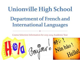 Unionville High School Department of French and International Languages