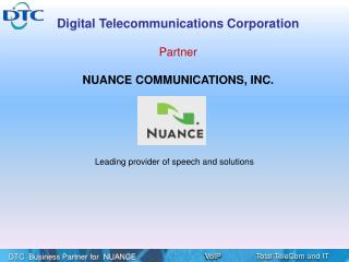 Leading provider of speech and solutions