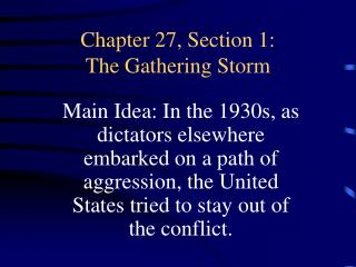 Chapter 27, Section 1: The Gathering Storm