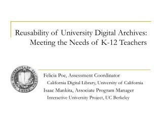 Reusability of University Digital Archives:  Meeting the Needs of K-12 Teachers