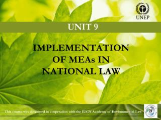 IMPLEMENTATION OF MEAs IN NATIONAL LAW