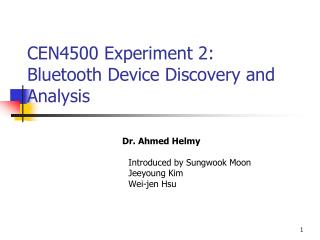 CEN4500 Experiment 2: Bluetooth Device Discovery and Analysis